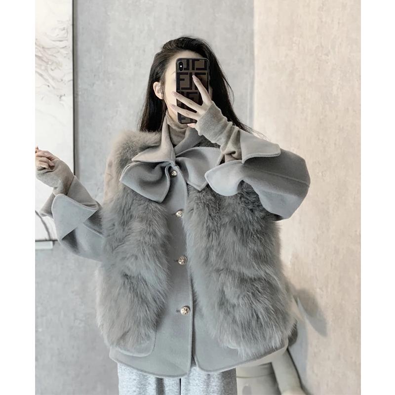 2020秋冬季整皮真毛狐狸毛马甲女海宁皮草外套中长款显瘦坎肩背心