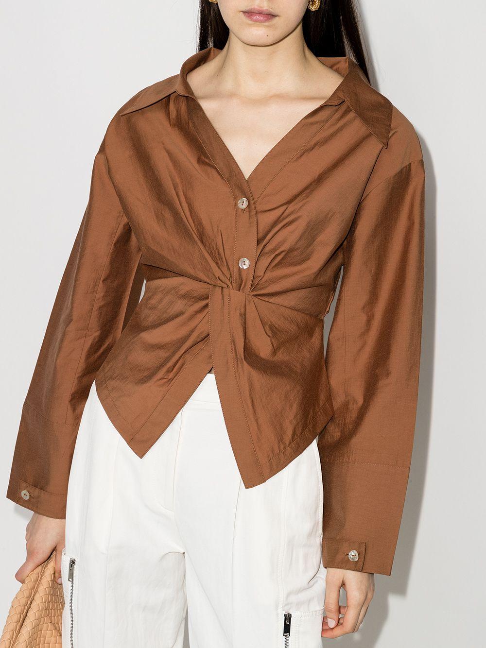 女士缩褶细节长袖衬衫