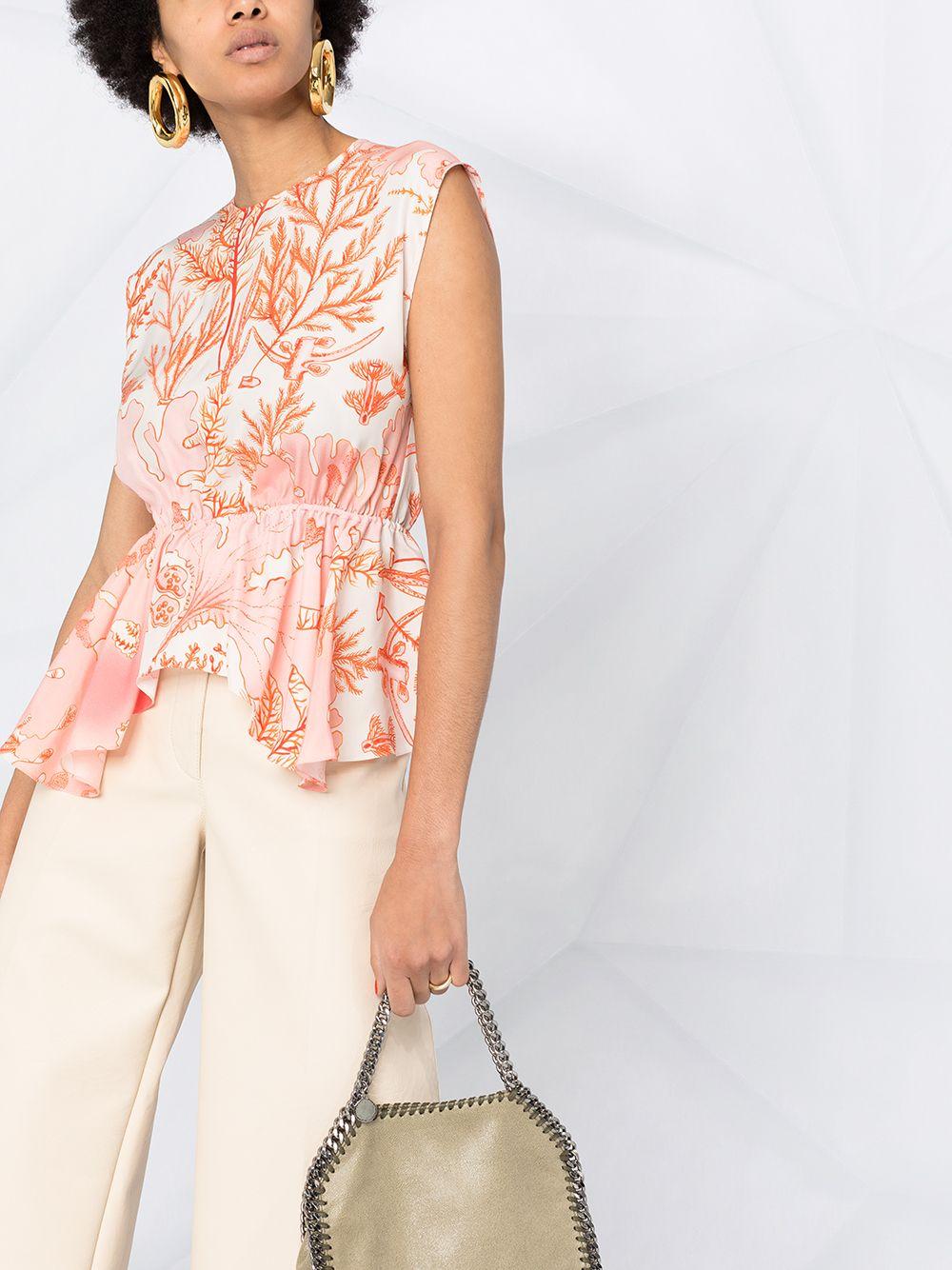 女士珊瑚印花束腰伞摆罩衫