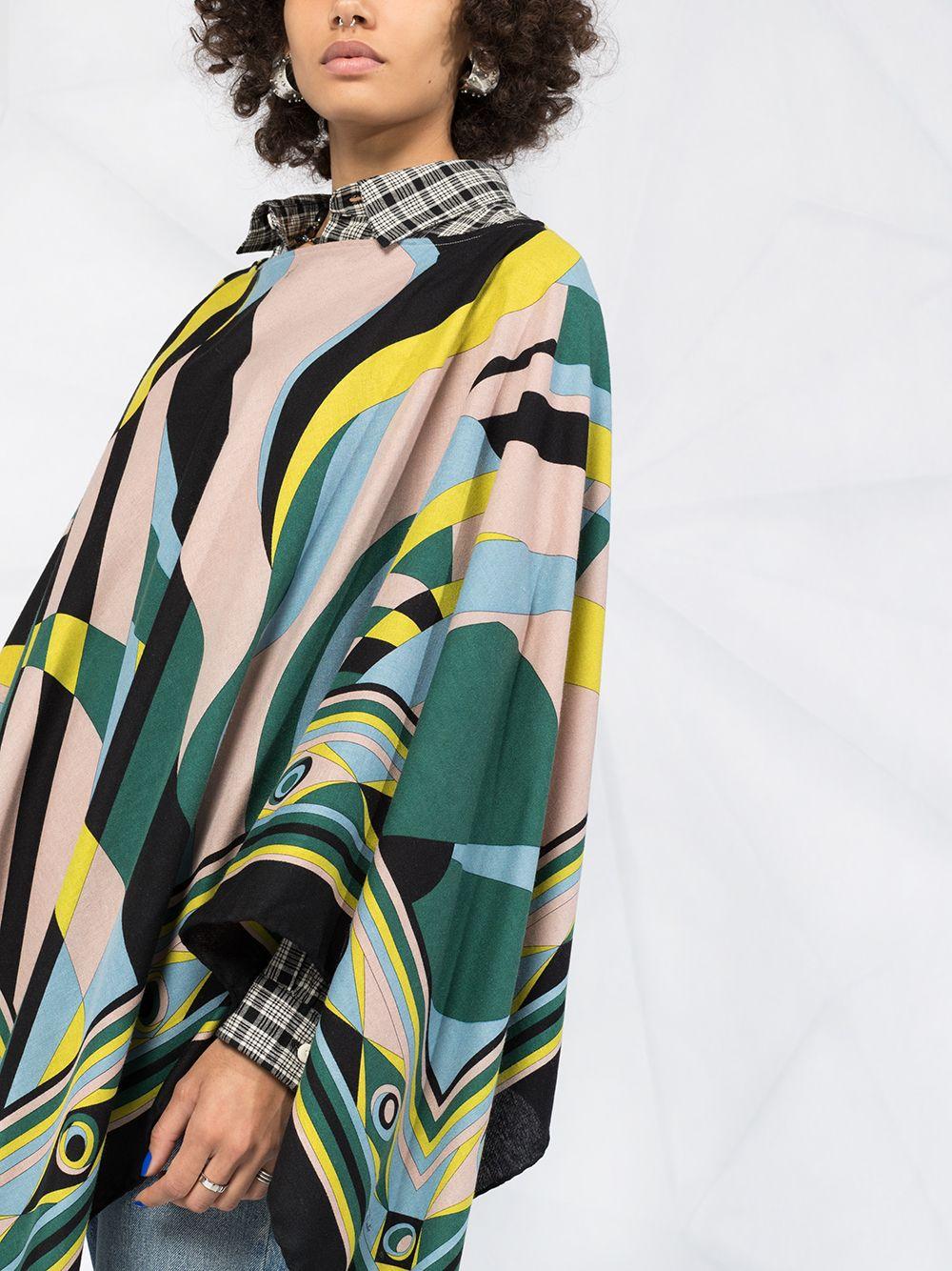 女款无袖真丝抽象彩色印花图案斗篷
