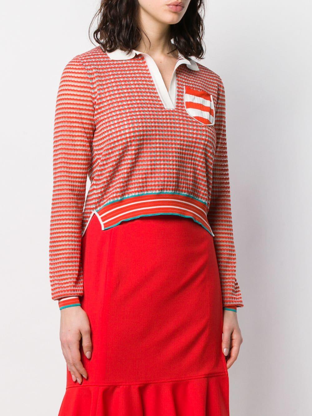 女款长袖真丝拼色polo衫
