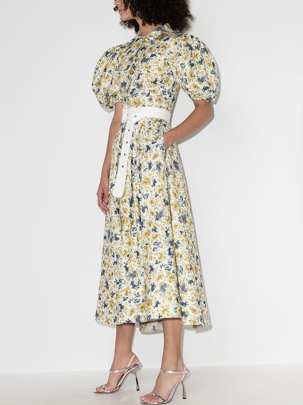 纯棉女士花卉印花连衣裙衬衫裙